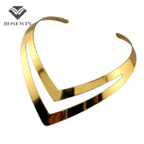 Hollow Out Punk Design V Shape Gold Torques Chokers Fashion Bib Collar Necklaces Statement Jewelry For Women Dress CE1193