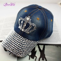 2015 New Adjustable Peaked Baseball Cap Fashion Jeans Accessories Handmade Crown Rhinestones Heart Women Casual Hats H032