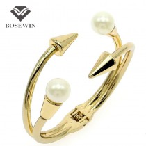 Punk Design imitation Pearl Jewelry Zinc Alloy Nails Bracelets Women Fashion Cuff Bangles 2016 Charm Bracelets Accessories Gift