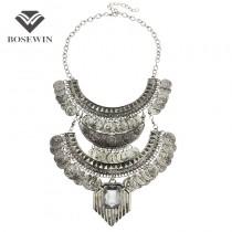 Vintage Jewelry Women Bohemia Gypsy Design Coins Tassel Choker Beach journey / Party Wear Big Statement Necklaces For Women 2015