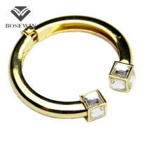 Fashion High Quality Alloy Square Crystal Bangles Bracelets For Women Charm C Design Cuff Bangles Statement Jewelry BL126