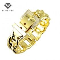 Fashion Women Belt Design Bracelets Accessories Zinc Alloy Rhinestones Metal Charm Cuff Bangles Statement Jewelry 2016 BL204