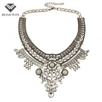 2016 Women Vintage Necklaces Indian Jewelry Ethnic Antique Silver Metal Rhinestones Choker Collar Statement Necklaces & Pendants