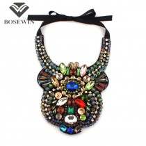 Women Party Accessories Luxury Spider Design Statement Chokers Collar Multicolor Crystal Gems Big Pendants Necklaces CE2651
