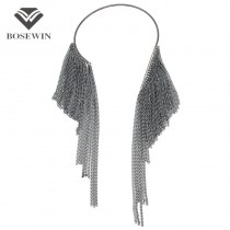 2016 New Torques Choker Long Chain Tassel Maxi Necklace Women Accessories Collar Cluster Statement Necklaces & Pendants CE3919