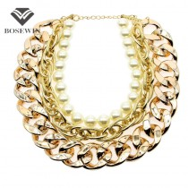 Fashion Imitation Pearls Maxi Necklaces For Women Beads Chunky Gold Chains Bib Collar Chokers Statement Necklaces CE776