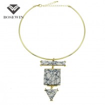 Fashion Choker Necklace For Women 2016 New Gold Torques Bib Collares Geometric Acrylic Statement Necklaces & Pendants CE3893