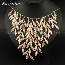 Unique Design Crystal Necklaces For Women Dress 2015 Charm Beads Wedding Statement Necklaces & Pendants Bride Costume Jewelry
