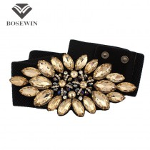 Luxury Style Crystal Flower Buckle Cummerbunds For Women Dress 2015 Decoration Elastic Wide Belts Wedding Costume Accessories