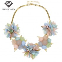 Geometrical Resins Flower Necklace Women Maxi Chokers Collar Bib Statement Necklaces & Pendants Gold Leaves Charm Jewelry CE2000