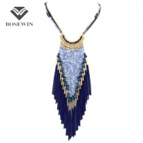 Bohemia Long Necklace For Women Dress 2016 New Multi layers Bead Chain Tassel Statement Necklaces & Pendants Collier femme