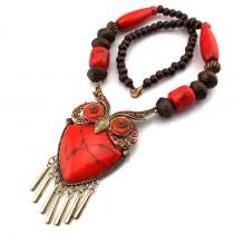 Fashion Tibetan Style Women Statement Necklaces Wood Chain Turquoise Big Owl Necklaces & Pendants Boho Jewelry Maxi Dress CE1272