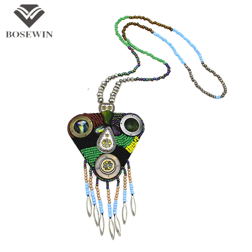 Bohemia Design Multicolor Long Bead Chain Leather Back Paint Ceramic Women Statement Necklaces & Pendants Boho Jewelry CE2442