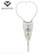 Bohemia Chic Vintage Necklace For Women Statement Silver Chain Tassel Necklaces & Pendants Accessories 2016 Coin Jewelry CE3493