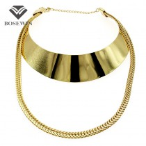 Punk New Chic Gold Choker Necklace For Women 2016 Big Collar Torques Fashion Chunky Chain Statement Necklaces & Pendants CE3891
