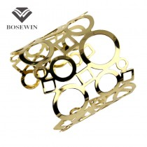 2015 Hollow Women's Jewelry Fashion Adjustable Shiny Faceted Opened Charm Cuff Bangles Bracelets Gold & Silver Colors BL150