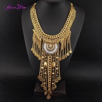 Gypsy Beachy Chic Statement Necklace Bohemia Long Chain Coins Tassels Maxi Necklaces Fashion Jewelry For Women Dress CE3147