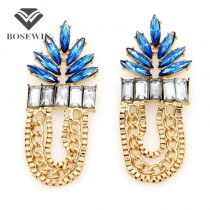 Fashion Jewelry For Women 2015 Charm Accessories Pendant Earring Blue Acrylic Gems Leaf Gold Chain Statement Drop Earrings FE124