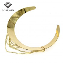 Women Punk New Chic Wide Alloy Torques Choker Necklaces 2016 Fashion Gold Chain Tassel Collares Statement Jewelry Bijoux femme