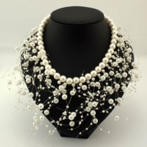 Fashion imitation Pearls Tassel Necklace Women Bib Cluster Jewelry Choker Collar Party Wedding Statement Necklaces & Pendants