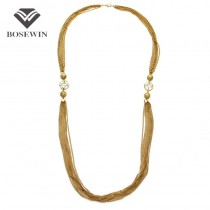 Fashion Charm Jewelry Multi layers Gold Chain Imitation Gemstones Long Necklaces For Women Dress Statement Tassel Accessories