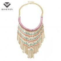 2016 New Bohemia Handmade Gold Chain Beaded Tassel Necklace Women Accessories Collar Big Necklaces & Pendants Statement Jewelry