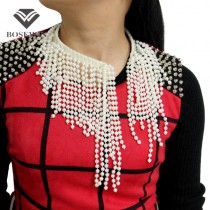 Fashion Charm Torques Imitation pearl Tassel Chokers Necklaces Women 2016 Bead Bib Collar Statement Necklaces & Pendants CE3830