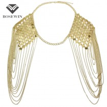 Bohemian Style Punk Body Chain Necklaces Alloy Collar Shoulder Chain Long Necklaces & Pendants Women Sexy Statement Body Jewelry
