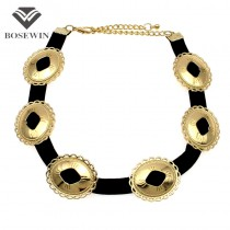 Unique Chic New Choker Necklace For Women 2016 Black Rope Cross Metal Torques Bib Collar  Necklaces Fashion Accessories CE3973