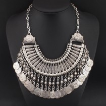 Bohemia Gypsy Beachy Chic Vintage Necklaces Carving Coin Tassels Beach Statement Necklaces & Pendants Big Boho Maxi Jewelry 2016