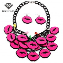 2015 USA Big Fashion Acrylic Panel Rose Pink Lips Pendant Necklaces Matching Earrigs Charm Jewelry Set Women Accessories CE2487