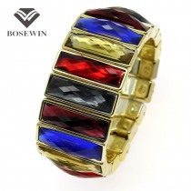 Fashion Jewelry Gold Plated Acrylic Rectangle Shining Resin Elastic Gorgeous Cuff Bangles Bracelets Women Wholesale BL193