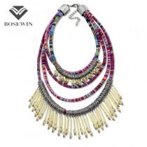 Bohemia Accessories Multi layers Statement Necklace 2016 Women Bead Tassel Handmade Maxi Necklaces & Pendants Big Jewelry CE3330