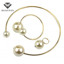 Fashion Jewelry Sets European Show Torques Brand Rhinestone Imitation Pearl Necklace Bangle Ring Bridal Jewelry Set Women Gift