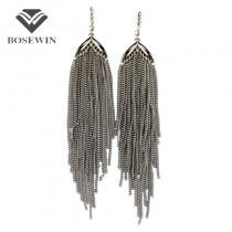 Silver Plated Long Chain Tassels Earring Boho Style Fashion Rhinestones Dangle Drop Earrings Vintage Statement Jewelry
