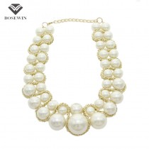 Factory price Bib Chunky imitation Pearl Necklaces Women Fashion Jewelry Golden Chains Cross Beads Choker Statement Necklaces