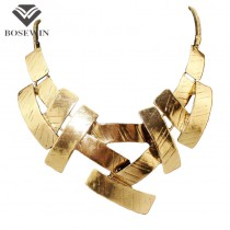 Vintage Bib Choker Necklace Women Cross Metal Pendant Snake Chain Maxi Collar Statement Jewelry Fashion Accessories CE394