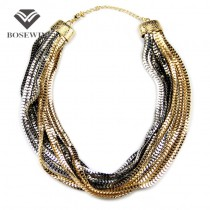 Hot Women Casual Party Accessories 9 Layered Snake Chain Collares Chokers Bib Necklaces Statement Jewelry Pulseiras Femininas