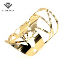 Fashion Geometric Hollow Statement Jewelry Shiny Faceted Alloy Large Opened Cuff Bangles & Bracelets For Women Manchette BL149