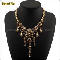 Fashion Pirates of the Caribbean Design Choker Jewelry Vintage Bones Chains Rhinestones Skulls Pendants Necklaces 2016 CE1235