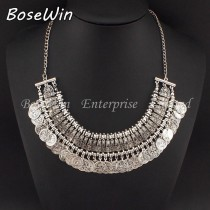 Gypsy Beachy Chic Statement Necklace Women Fashion Bib Coins Tassels Vintage Chokers Ethnic Maxi Necklaces & Pendants CE2386