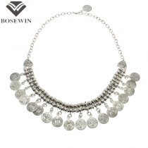Gypsy / Indian Style Fashion Necklaces For Women Bib Silver Coins Chokers Vintage Statement Necklaces & Pendants CE2728