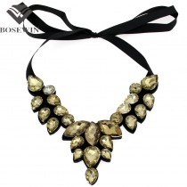 Women Crystal Choker Collar Necklace 2016 Fashion Accessories Glass Beads Colar Statement Necklaces & Pendants 3 Colors CE2962