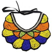 Fashion Exaggerated National Tribal Style Hand Made Collar  Multicolor Resin Beads Shape Collar Necklace For Women Dress CE3349