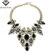Bohemia Vintage Chain Rhinestones Exaggerated Flower Design Necklaces & Pendants Statement Necklaces For Women Brand CE2646