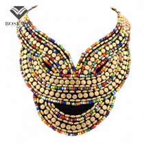 Boho Jewelry Fashion Multicolor Candy Beads Collar Necklace Handmade Choker For Women Dress Statement Accessories Wholesale 2016