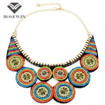 Fashion Indian Style Clothes Jewelry Vintage Multicolor Resin Painting Ceramic Beads Choker Fake Collar Necklaces CE3365