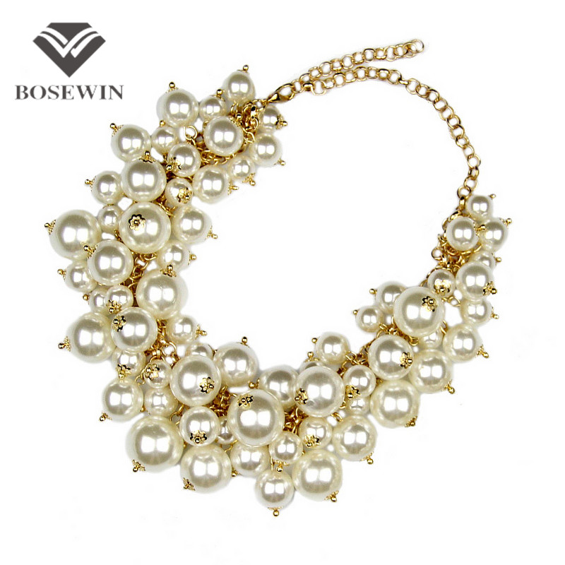 Fashion Exaggerated Golden Multilevel Chains Cross Imitation Pearls Bib Choker Statement Necklace Brand Jewelry For Women Gift
