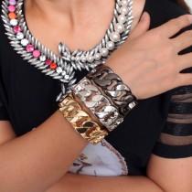 2015 Fashion Casual Design Alloy Chain Shape Women Spring Opened Cuff Bangles Bracelets Costume Jewellery Pulseiras BL266