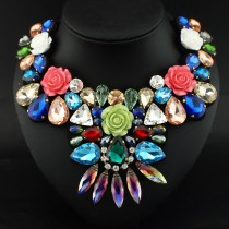 Women Crystal Bead Resin Flower Collar Necklaces Fashion Multicolor Chokers Statement Necklace Party / Wedding Jewelry New Colar